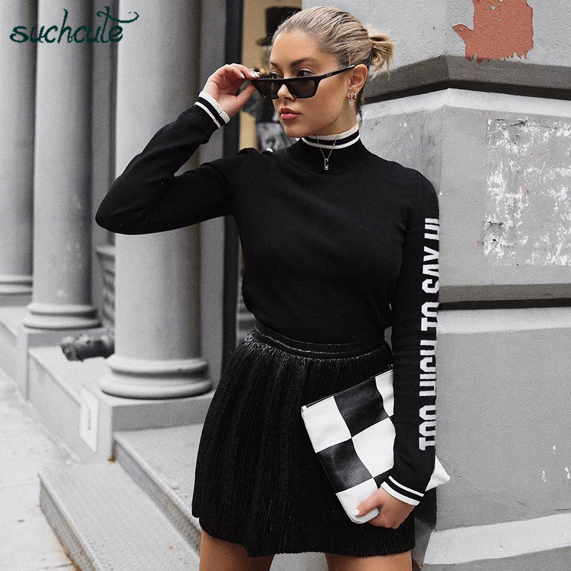 SUCHCUTE Overalls Body For Women Long Sleeve With Print Korean Style Bodysuit Bodycon Feminino Para Mulheres Gothic 2019 Rompers