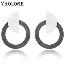 YAOLOGE Simple Geometric Leopard Acrylic Stud Earrings Semicircle Stitching Round Bohemian Style Jewelry For Women New