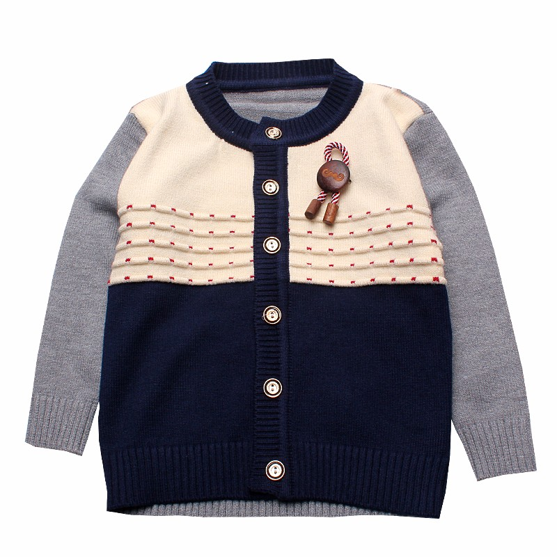 Boys Sweaters Print Cotton Top Knit Infant Outfit With Button Boy Corsage Outerwear Winter Warm Apparel Cardigan Knitted Clothes (4)