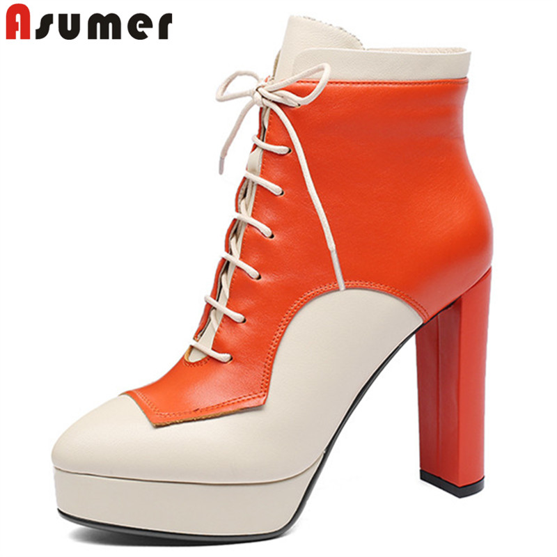 ASUMER 2018 fashion new shoes woman round toe genuine leather boots platform ankle boots for women zip high heels ladies boots cuculus 2018 women boots fashion pu leather round toe ankle boots sexy lace ladies high heels platform shoes woman 331