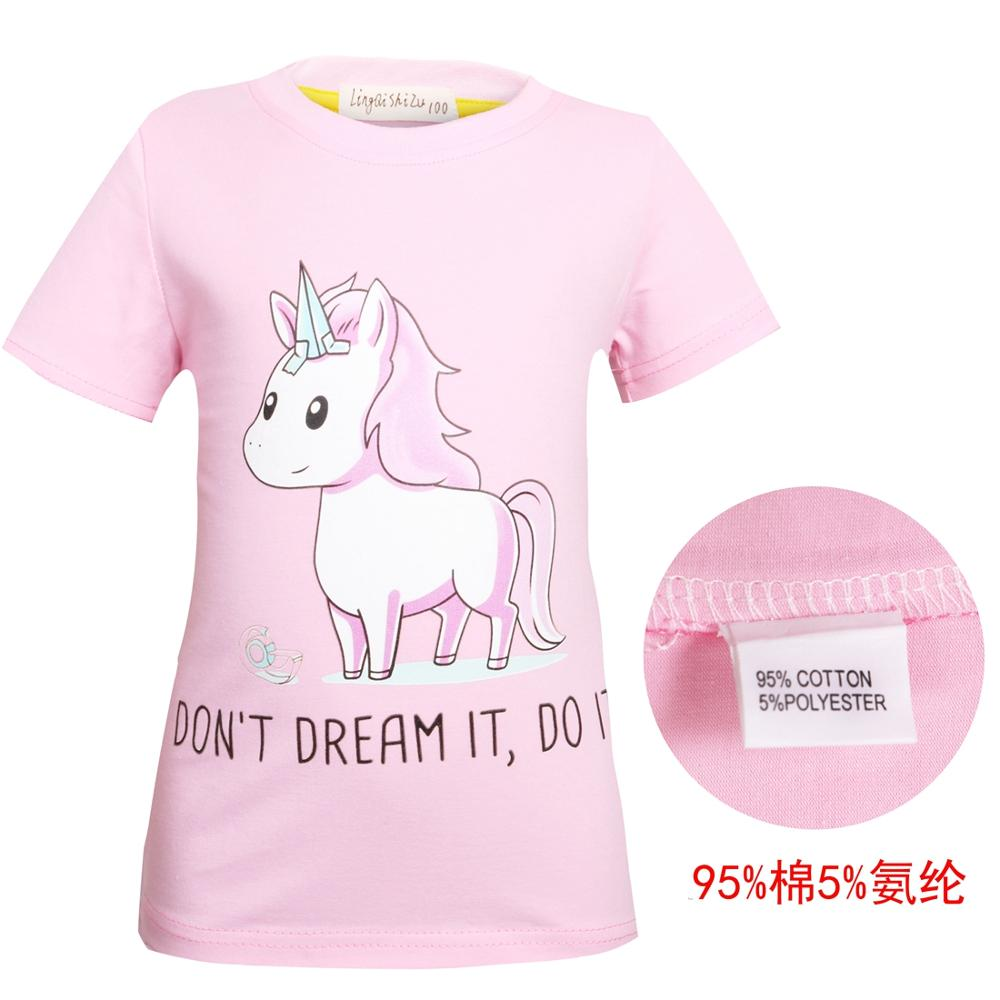Unicorn Tshirt Tops Short-Sleeve Girls Cotton Cartoon Summer Cute for 0007
