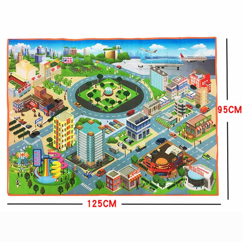 Tronzo 70*70cm Or 125*95cm Baby Traffic Play Mat City Road Carpets Baby Toys Rugs Developing Play Puzzle Mat Drop Shipping