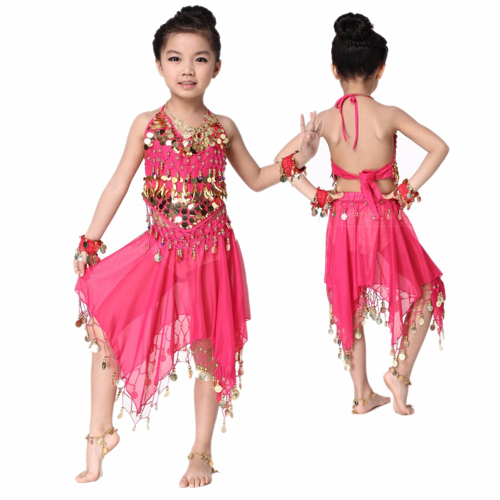 NEW!Girls Belly Dance Costumes Chiffon Gold Coins Top+skirt 2pcs Belly Dance Set For Girls Belly Dance Suits