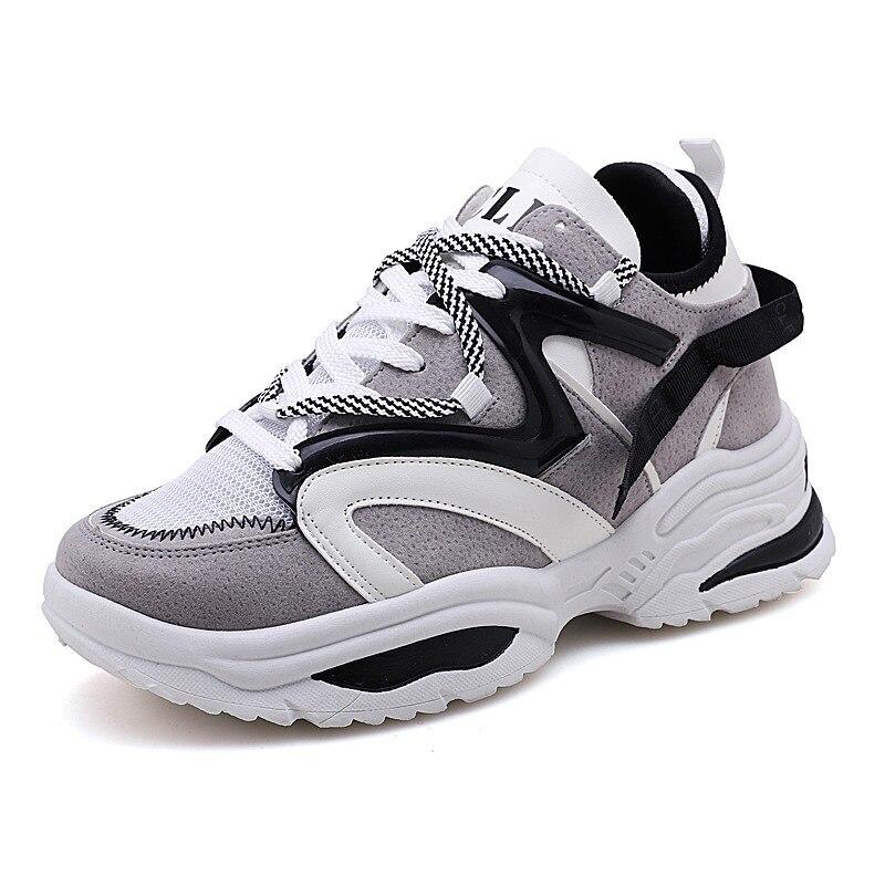 Femmes décontracté Air Mesh plate-forme baskets femmes automne plate-forme chaussures à talon compensé femme mode creux papa chaussure