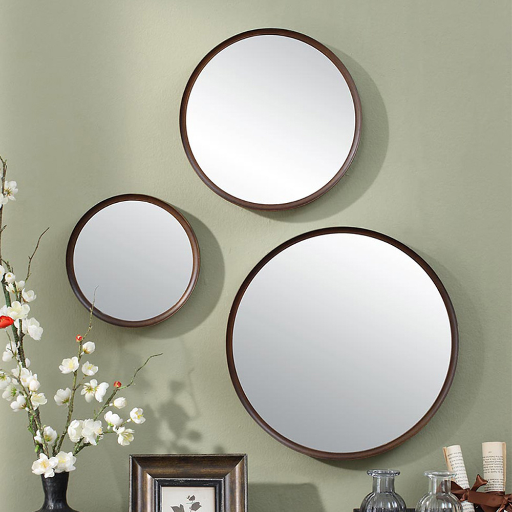 1pack Chinese style wood round bathroom mirror wall hanging bedroom mirror dressing table decoration makeup mirror wx8231340 wooden dressing table makeup desk with stool oval rotation mirror 5 drawers white bedroom furniture dropshipping