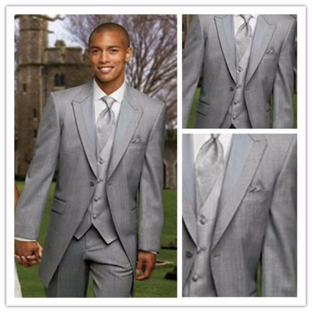 Handsome 2017 Custom Made Simple Long Grey Wedding Suits For Groomsmen Tuxedos Mens