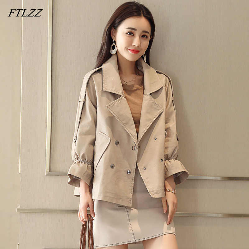 Fitaylor New Pu Leather Jacket Women Faux Leather Jacket Spring Vintage Coat Female Casual Double Breasted Leather Outwear