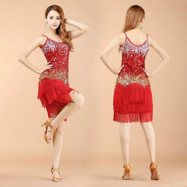 dae505b4ab82e Robe de danse latine pour femme adulte paillettes Costumes pour danseur  Sexy robe à franges latine