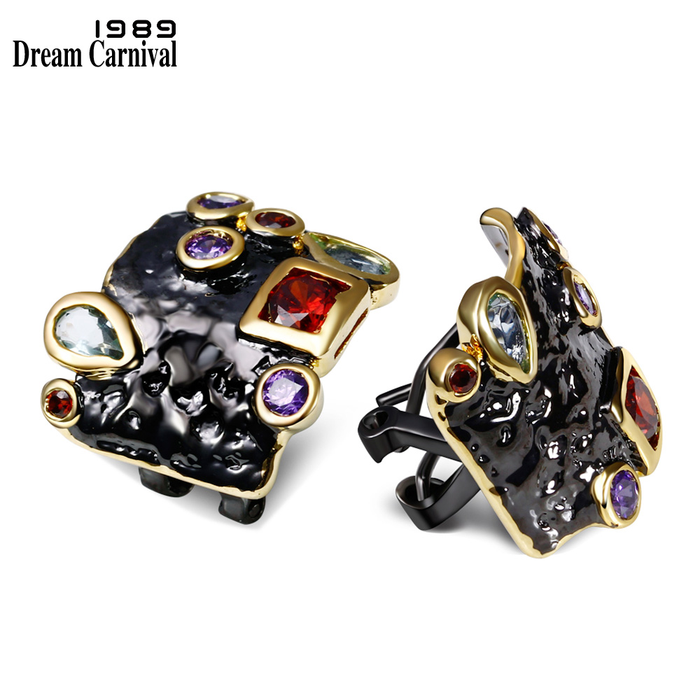 DreamCarnival 1989 Elegant Multi Zirconia Stud Earrings for Women Vintage Black Gold Color Gothic Unique Jewelry Dropship E10