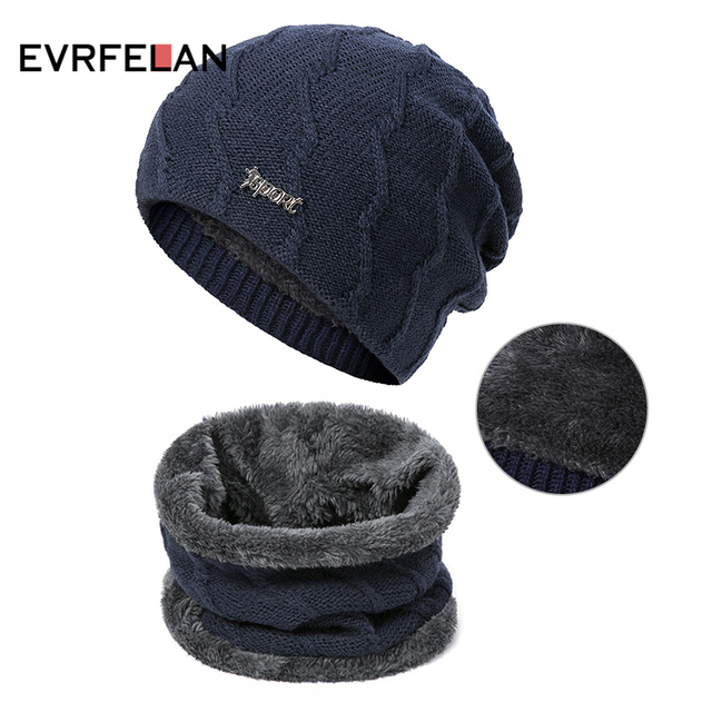 eac7e02d079 Evrfelan Winter Set Hat Scarf 2 Pieces Men Knitting Warm Beanies Hat Ring  Scarf Male Unisex