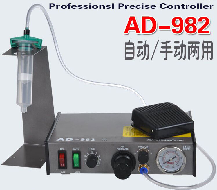 Semi-Auto Glue Dispenser PCB Solder Paste Liquid Controller Dropper Fluid dispenser AD-982 220V 11 11 free shippinng 6 x stainless steel 0 63mm od 22ga glue liquid dispenser needles tips