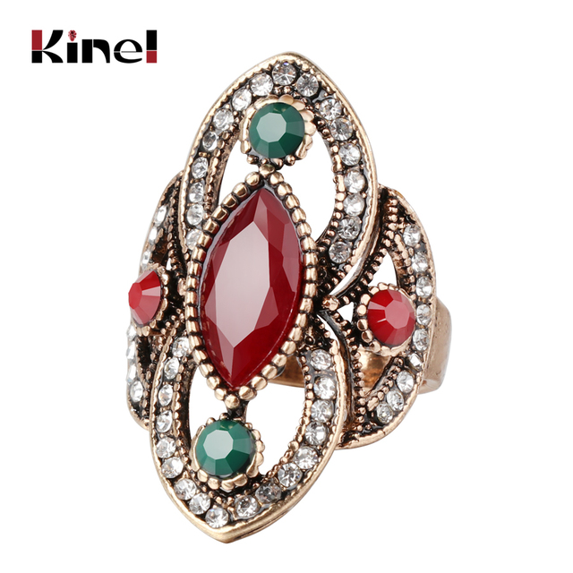 Kinel Fashion Antique Gold Rings For Women 3 Colors Crystal Vintage Jewelry Drop