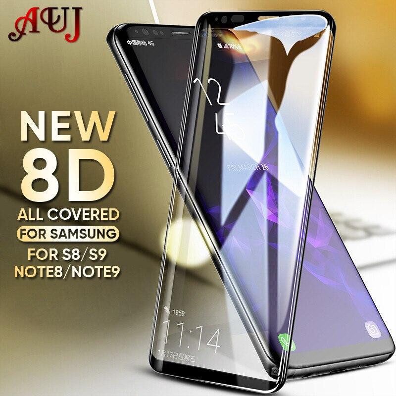 AUJ 8D pełna pokrywa szkło hartowane dla Samsung Galaxy S9 S8 Plus uwaga 8 9 szkło ochronne na Film dla samsung S6 S7edge szkło