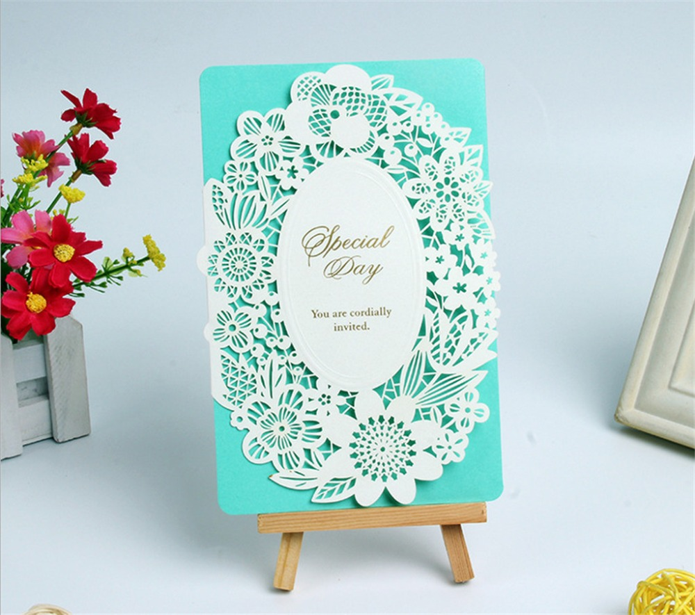 30pcs Laser Cut Lace Wedding Invitations Cards Romantic Flowers