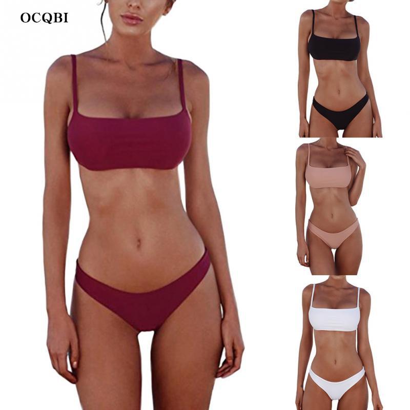 OCQBI  2019 Sexy Solid Backless Women Swimwear Low Waist micro bikini brazilian thong Beach