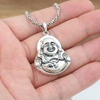 sterling silver retro male and female religious Buddhist smiling Buddha Maitreya Buddha Pendant Pendant