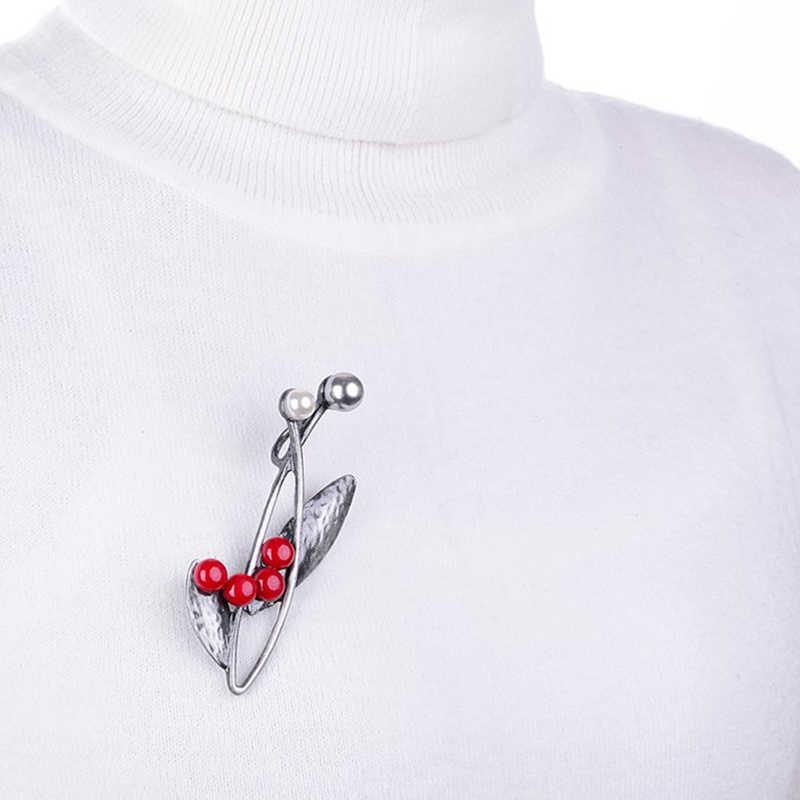 Elegan Multicolor Manik-manik Vintage Daun Bros Pin untuk Wanita Warna Perak Antik Disimulasikan Bros Mutiara Pernikahan Perhiasan Lencana