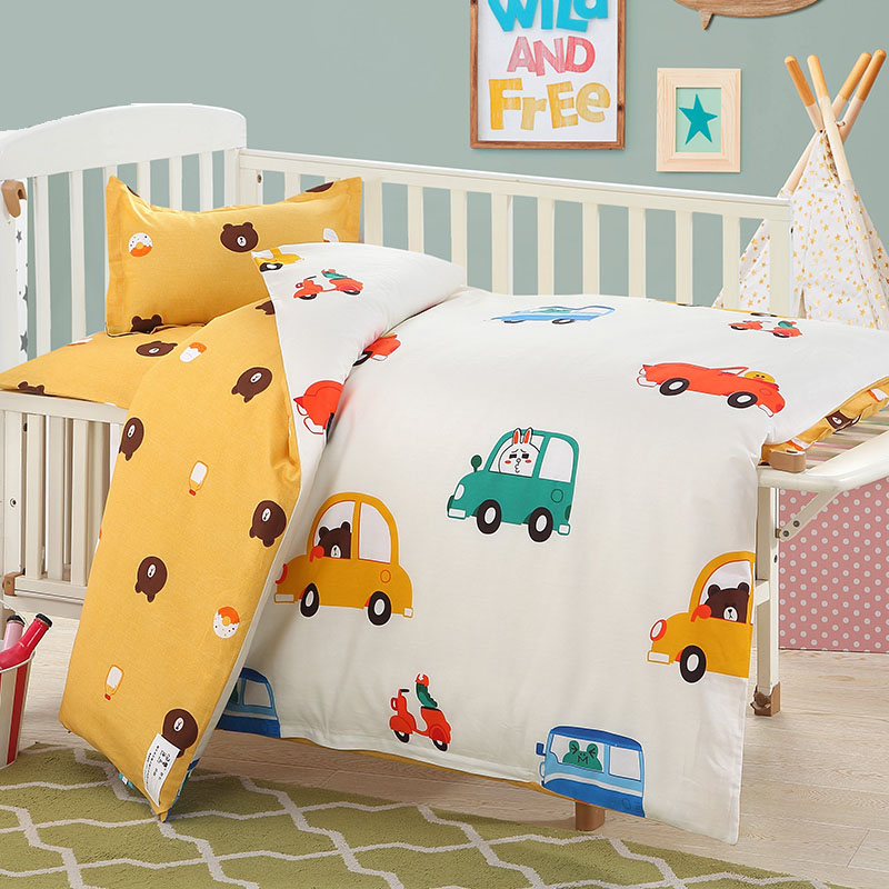 3 pcs/set Baby bedding set crib bed linings included pillowcase flat sheet duvet cover Forest Animal pattern design for baby kid bedding set sailid b 154 cover set linings duvet cover bed sheet pillowcases tmallts