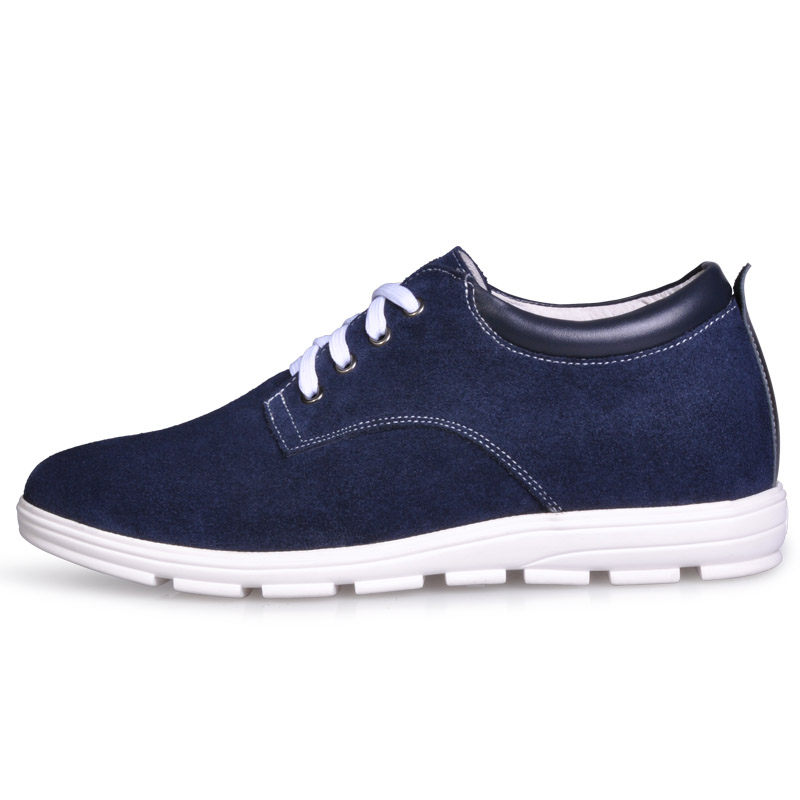 JC156 Men's Height Increasing Elevator Suede Leather Casual Shoes with Hidden Heels Get Taller 5CM Invisibly Blue More Colors 2 36 inches taller height increasing elevator shoes black blue red casual leather shoes soft sole soft surface driving shoes