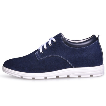 JC156 Men's Height Increasing Elevator Suede Leather Casual Shoes with Hidden Heels Get Taller 5CM Invisibly Blue More Colors