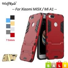 Купить с кэшбэком WolfRule Case For Xiaomi Mi5X Case Silicone & PC Holder Cover For Xiaomi Mi 5X Shockproof Phone Case For Xiaomi Mi5X Cover 5.5''