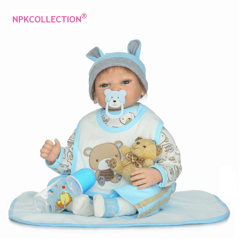 22inch Silicone Reborn Baby Boy Doll Toys for Girls 55cm Lifelike Reborn Babies Play House Toy Birthday Gift Girl Brinquedods 28cm white full body silicone reborn baby dolls toys lifelike girls doll play bath toys gift brinquedods princess reborn babies