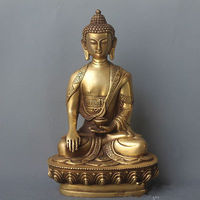 7.8 inch/The ancient Chinese sculpture gold plated copper statue of Buddha had