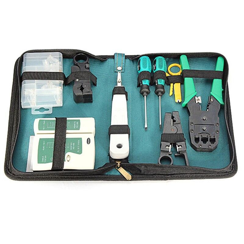 RJ45 RJ11 RJ12 CAT5 Network Tool Maintenance Hand Crimping Kit Cable Tester Connector Crimper Plug Plier Wire Cutter Screwdriver