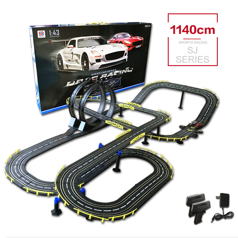 1:43 Car Track Rc Toy Electric Wired Remote Control High Speed Car DIY Building Track Racing Interactive Toys With 2 Cars