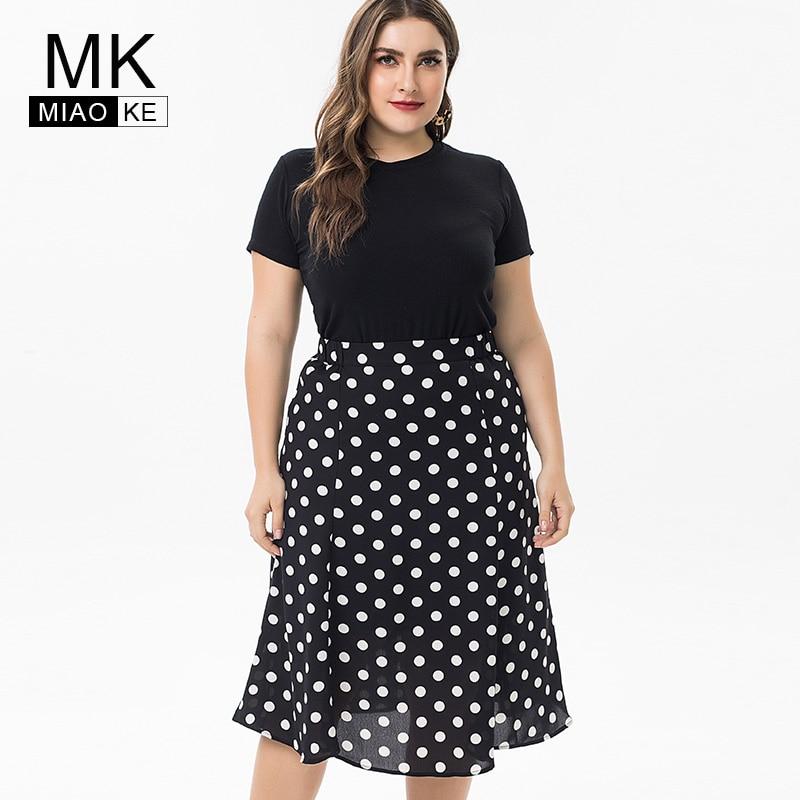 Miaoke 2019 Summer Plus Size polka-dot dress womens party night Clothing large size party dress