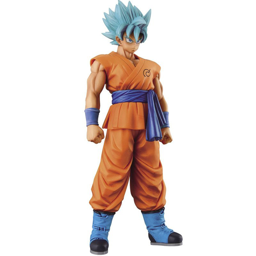 Anime Dragon Ball Z Son Goku Action Figure Super Saiyan God Blue Hair Goku 25CM DragonBall Collectible Model Toy Doll Figuras dragon ball z son goku vs broly super saiyan pvc action figures dragon ball z anime collectible model toy set dbz