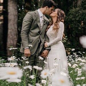 Image 5 - Vestido de noiva białe kości słoniowej koronkowe suknie ślubne 2020 Sexy Backless szyfon, boho plaża suknia ślubna długie rękawy suknia dla panny młodej