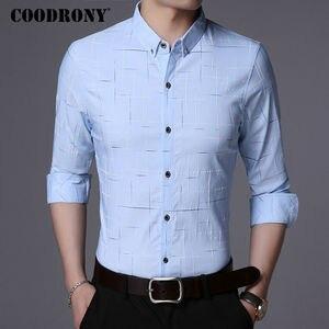 Image 2 - Рубашка COODRONY мужская с длинным рукавом, деловая повседневная одежда, хлопок в клетку, 2019