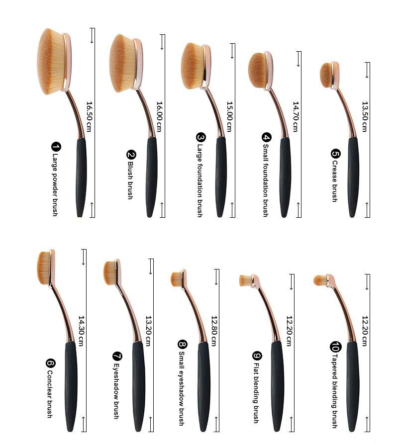 Anmor Professionnel 10 PCS Rose Or Ovale Maquillage Pinceaux extrêmement Souple Make Up Fondation Pinceau Poudre Kit avec Noir sac 3