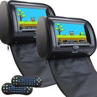 Universal Pair Of Black Headrests 2 X DVD Player 7 Inch LCD Screen Car Monitor Support