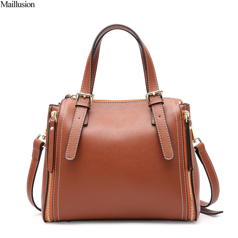 Maillusion New Fashion Geniuen Leather Women Bag Real Cow Leather Luxury Ladies Handbags Totes Messenger Bags Female Totes Bag miwind 2017 new women bag cow oil wax leather handbags letter v shoulder bags female luxury casual totes simple fashion portable