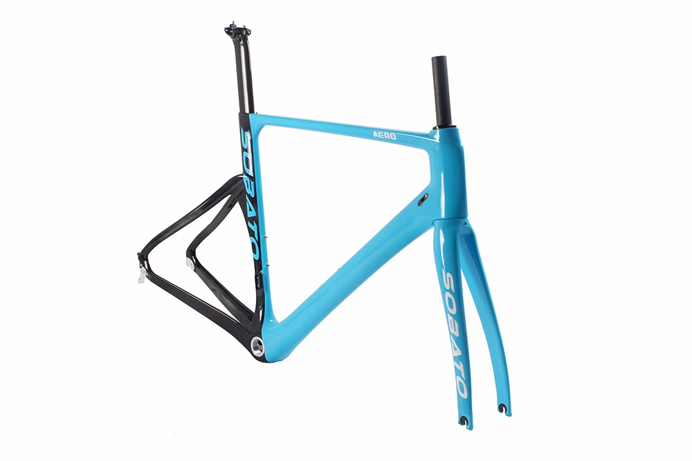 SOBATO Full Carbon Fiber 700c Road Bike Frame Fork+headset+seatpost Clamp Blue sky 460/490/520mm RAA gineyea aluminum alloy bike seatpost clamp blue