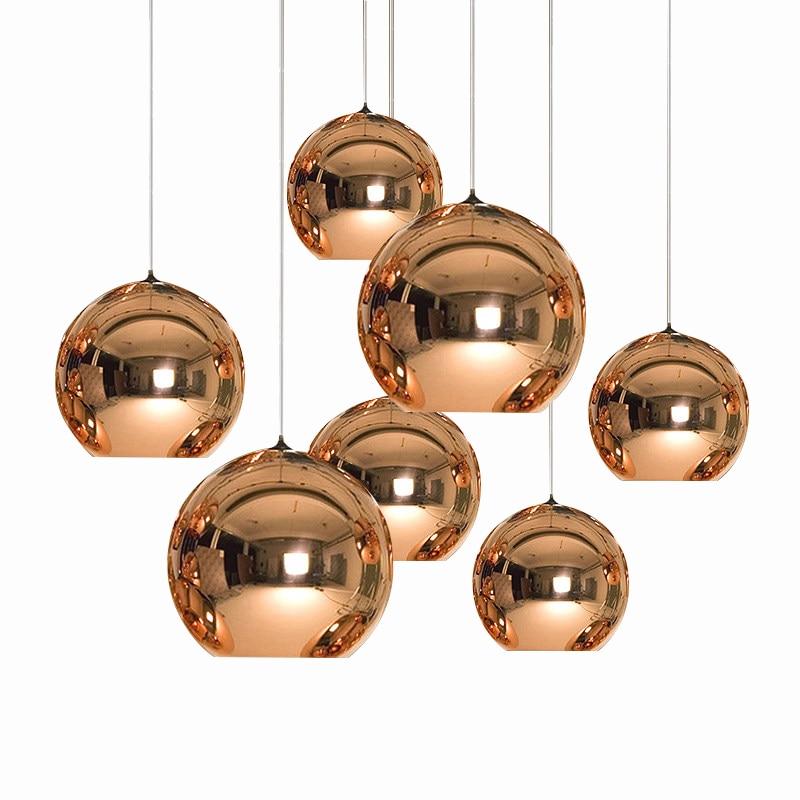 Modern Art Globe Pendant Light Golden Copper Mirror Glass Ball Lamp Shade  Suspension Lamp Kitchen Table Lighting Fixtures