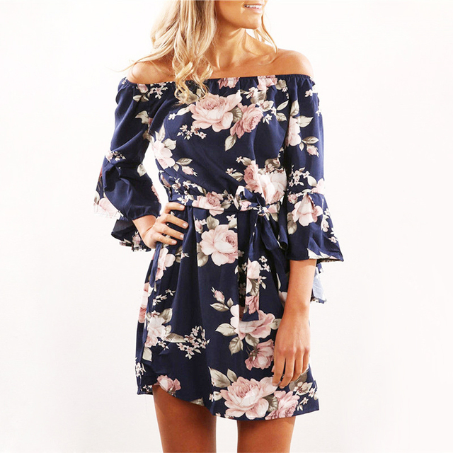 Women Dress 2018 Summer Sexy Off Shoulder Floral Print Chiffon Dress Boho Style Short Party Beach Dresses Vestidos de fiesta 1