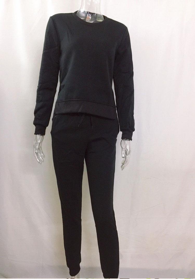 Women Tracksuit Long Sleeve Slit Solid Sweatshirts Casual Suit Women Clothing 2 Piece Set Tops Pants Sporting Suit Female 16