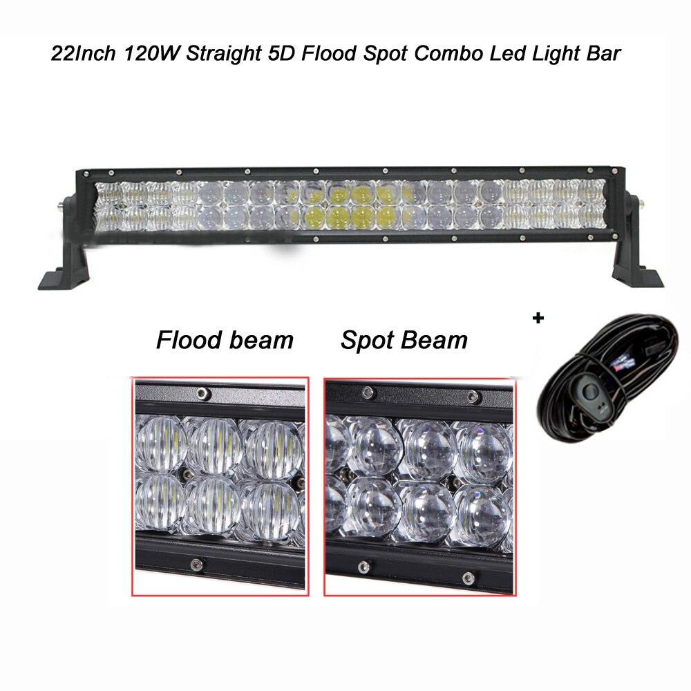 Прямой 22 дюймов 120w 5Д Сид свет бар комбо Луч IP67 Сид 12000lm для бездорожья 4WD внедорожник ют ATV для грузовиков лодка с проводов