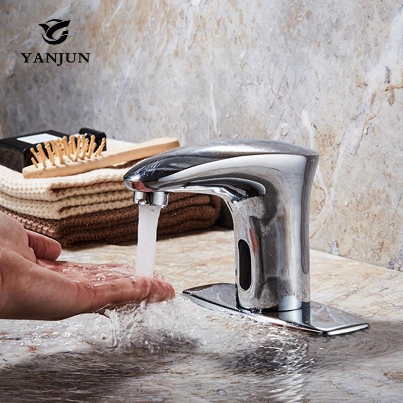 Yanjun Hot And Cold Bathroom Automatic touch sensor Chrome Faucet Kitchen Basin mixer Single Handle Single Hole Tap Yj-1858 niko 50pcs chrome single coil pickup screws