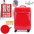 Красные тележки для багажа кожа женился на поле коробка невеста universal travel мешок багажа колеса 16 18 20 22 24, кожа pu камера устанавливает