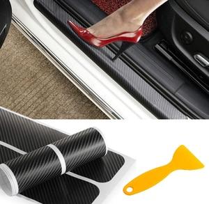 Image 1 - 4pcs Door Carbon Fiber Car Scuff Plate sticker Vinyl Decal sticker for mazda MS mazda 2 mazda 3 mazda 6 M5 cx 5