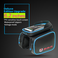6 2 Inch Touch Screen Bicycle Front Tube Saddle Bags PU Material Waterproof Bike Cycling Saddle