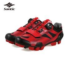 Santic 2018 jazda na rowerze buty mężczyźni samoblokujący buty na rower górski oddychające trampki dla rowerów lekkoatletyka Zapatillas Ciclismo tanie tanio Dla dorosłych Buty rowerowe Syntetyczny Średnie (b m) Gumką Cycling Shoes MS17003 Pasuje prawda na wymiar weź swój normalny rozmiar
