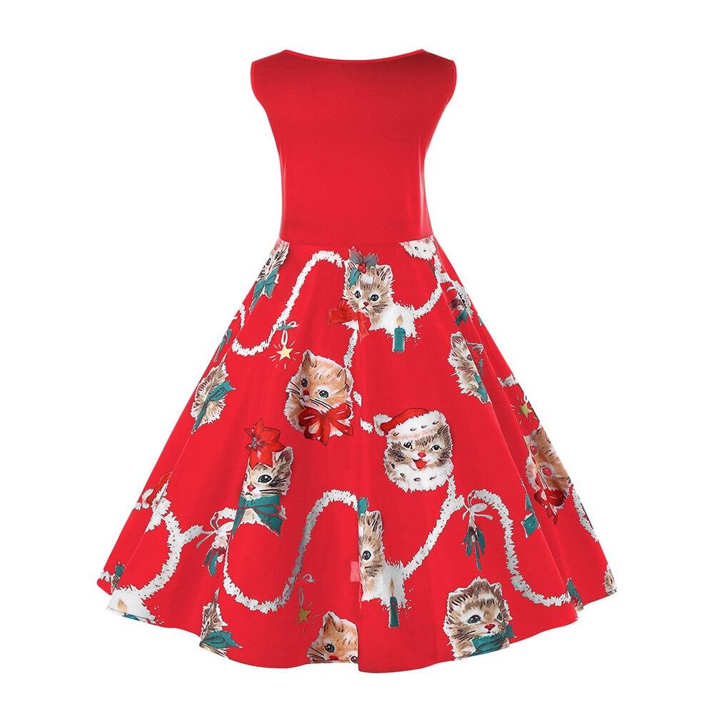 b8c8bee4630 Kenancy Plus Size Christmas Cat Print Vintage Dress Elegant O Neck  Sleeveless Party Vestidos Robe Rockabilly Swing Women Dresses