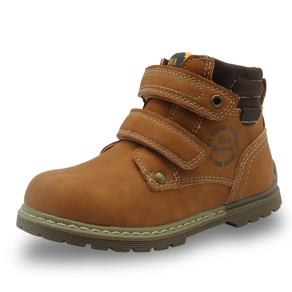 Apakowa Autumn Spring Boy's Classic Martin Boots Toddler Children Western Ankle Boots For Boys Rubber Sole Hook&Loop Kids Shoes