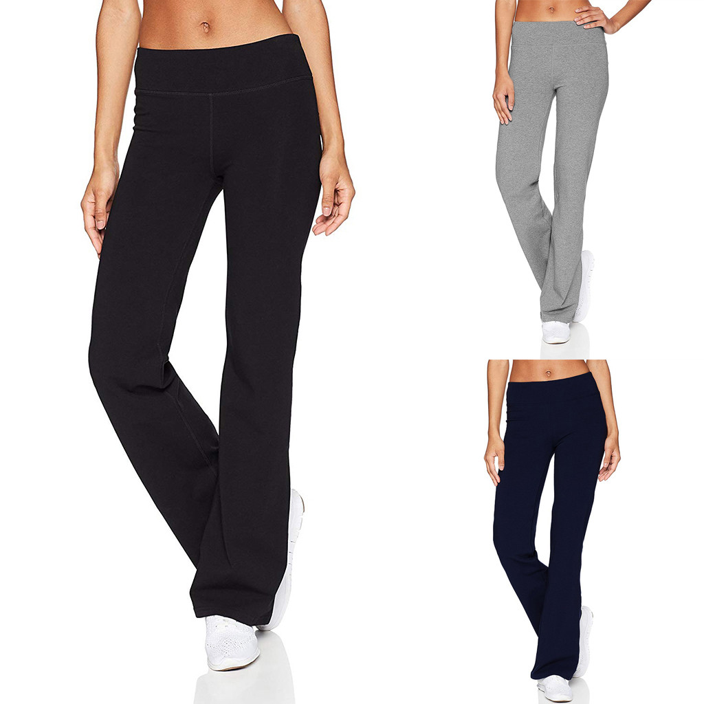 2019 New Arrive Style Workout Out  Women's Casual Solid Color Slim Hips Loose Yoga Pants Wide Leg Sports Pants Stretch #45 Lady