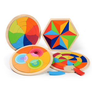 Puzzle Tangram Jigsaw Board Wooden Toy Puzzles for Kids Children Early Educational Learning Preschool Brain Development